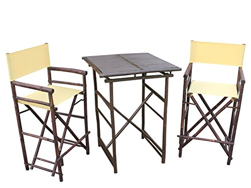 ZEW SET-007-6-11 1 High Square Table and 2 High Director Chairs, - 007 Nude