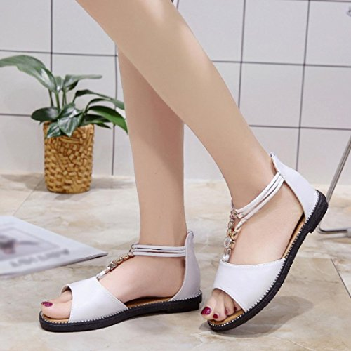 HLHN Women Sandals, Bohemia Roman Gladiator Rhinestone Ankle Strap Flat Heel Open-Toe Shoes Casual Vintage Lady White