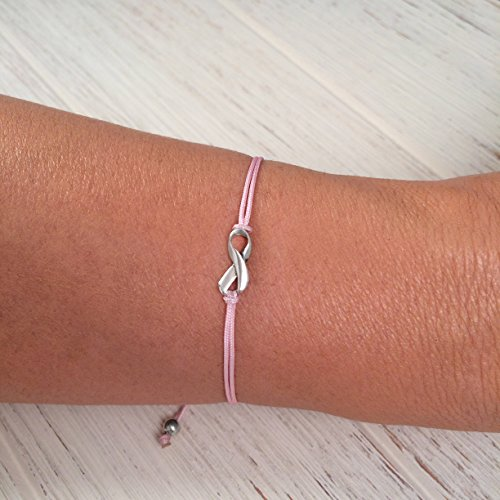 Pink, Small Sterling Silver 925 Ribbon Shaped Charm Bracelet, Breast Cancer Awareness, Friendship Support Bracelet, Adjustable Thread Cord, Handmade in Peru by Claudia (Cancer Awareness Jewelry Bracelet)