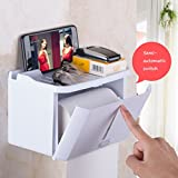 Chi Cheng Fang Electronic business Hand carton toilet toilet tissue box perforated roll paper tube extract box toilet tray waterproof toilet paper rack (Color : White, Size : 2214cm)