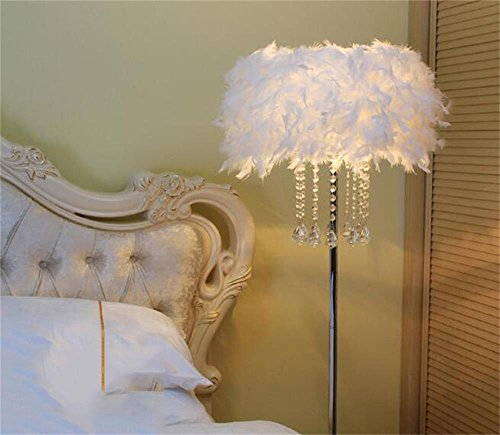 ALUS- European Style Simple Fashion Feather Floor Lamp Crystal Floor Lamp (Button Switch) (Color : A)
