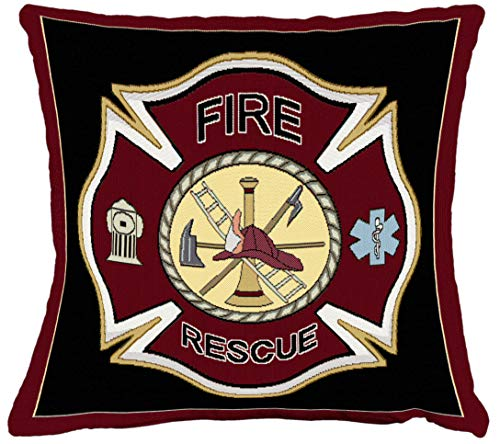 (Pure Country Weavers - Firefighter Fireman Shield Hand Finished Woven Pillow Made in The USA. Size 17 x 17)