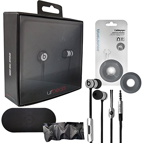 urBeats 2 Wired In-Ear Headphone - Built-In Mic - For Apple iOS W/Extra Ear Gel & Bluelounge Headset Winder (Retail Packing) (Space Gray)
