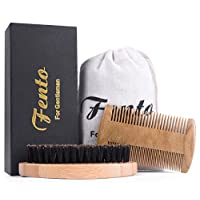Deals on Fento Boar Bristle Beard Brush and Beard Comb Set
