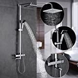 ROVATE Bathroom Thermostatic Shower System Wall Mounted ain Anti Scald Device Rainfall Shower Combo Set with 8 Inch Shower Head Polished Chrome ROVATE