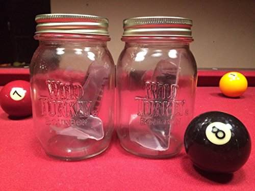 Set of 2 Wild Turkey Kentucky Straight Bourbon Whiskey Mason Jars Glasses & American White Oak Infusion - Whiskey Turkey