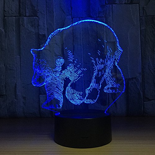 Polar Bear 3D LED Visual Lamp Night Light Decor Desk Lamp 7 Color Changeable Desk Lamp Table Bear Decoration Gift with USB Cable for Room Decor,Birthday Gift Christmas Gift Toys for Children Kids ...