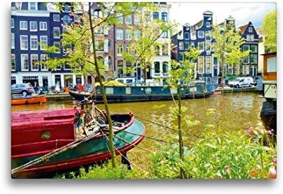 Calvendo Premium Lienzo 45 cm x 30 cm Horizontal, Amsterdam – Barcos domésticos en la Hierba del príncipe Imagen sobre Bastidor, Listo para Lienzo auténtico, Lienzo, Lugares