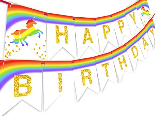 Unicorn Brights Rainbow Happy Birthday Banner
