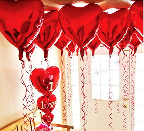 Ximkee 18 Inch Red Heart Foil Helium Balloons(10 PK) Valentines Day Wedding Engagement Decorations (Red Heart Balloons)