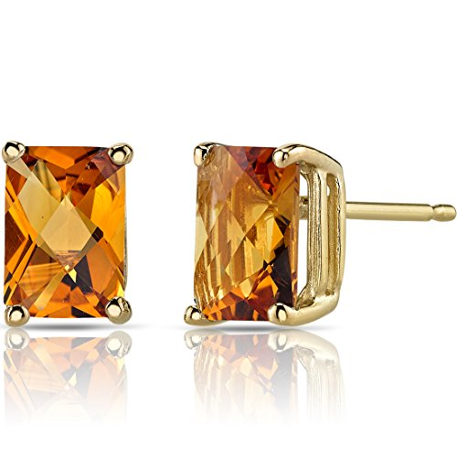 14K Yellow Gold Radiant Cut 1.75 Carats Citrine Stud ()