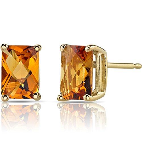 14K Yellow Gold Radiant Cut 1.75 Carats Citrine Stud Earrings