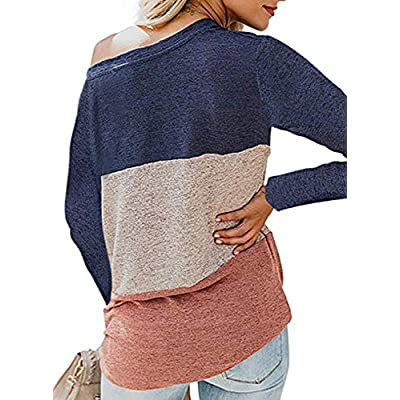 Huange Womens Long Sleeve Color Block Striped Tee Shirts Casual Loose Twist Knot Loose Tee Tops Blouse: Clothing