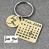 Fathers Day Sale,Personalized Calendar Keychain,Signature Calendar Key Chain Hand Stamped Calendar, Date Highlighted with Heart (02)