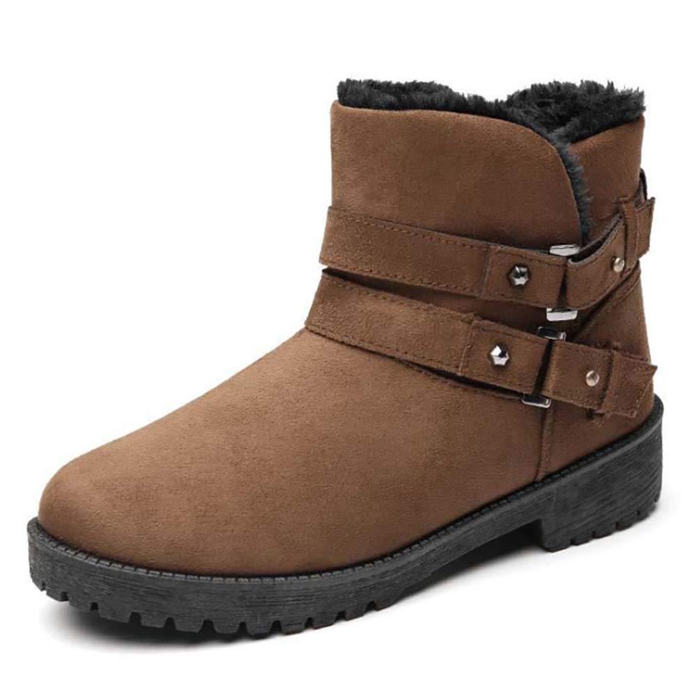Winter Frau Ankle Stiefelie Warme Schneeschuhe Schnalle Plattform Rutschfeste Damen Wohnungen Plüsch Gefüttert Lässige Baumwolle Schuhe