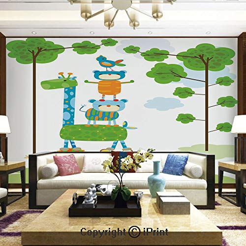 Wallpaper Nature Poster Art Photo Decor Wall Mural for Living Room,Funny Cute Jungle Creatures Balancing on Each Other Animal Tower in Forest Decorative,Home Decor - 66x96 inches
