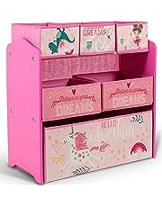 Home Canvas Sunshine Unicorn Design Kids' Multi-Bin Toy Organizer with Storage Bins, Pink