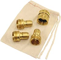 Garden Hose Quick Connect Brass Fittings - 1 Female and 3 Male Kit - Easily Snap and Disconnect Attachments to Your Water Hose