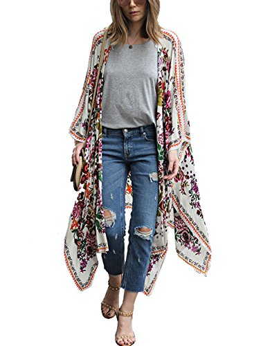 ZEAMO Women Flowy Sheer Crop Sleeves Loose Chiffon Kimono Cardigan Blouse Top (Small, 7)