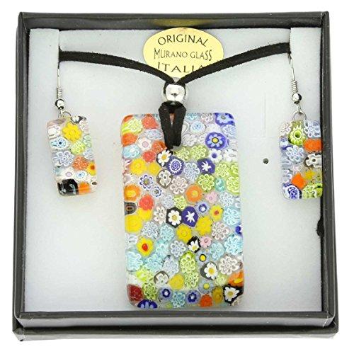 - GlassOfVenice Murano Glass Millefiori Necklace and Earrings Set