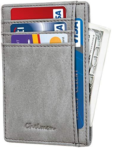 Chelmon Slim Wallet RFID Front Pocket Wallet Minimalist Secure Thin Credit Card Holder (Vinti Grey)