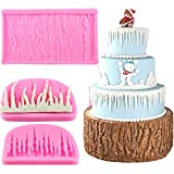Mujiang Tree Bark Texture Icicle Silicone Lace Fondant Cake Molds Set Of 2