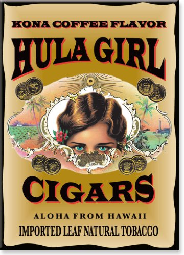 (Hawaiian Art Collectible Refrigerator Magnet - Hula Girl Cigars)