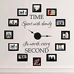 Wall Stickers for Living Room Time Spent with Family is Worth Every Second - Family Lettering Vinyl - Without Clock and Picture Frame (Large) Wall Decals for Boys Room