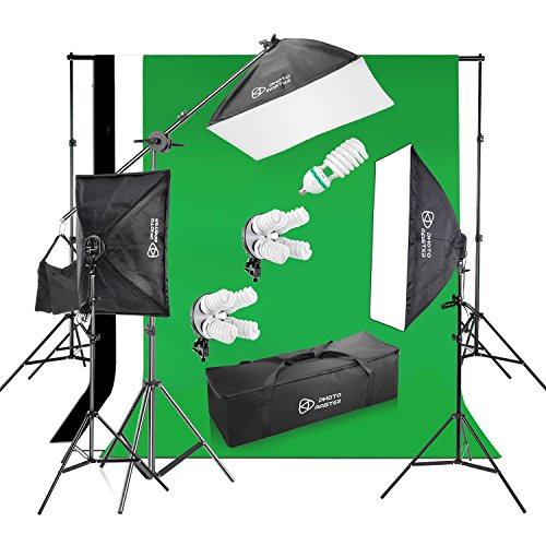 Photo Master Photography Lighting Kits 2400W 20x28 Photography Softbox Continuous Photo Lighting Kit [Includes Boom, Stands, Softboxes, Socket Heads, 12x 45W Bulbs,Carrying Bag]