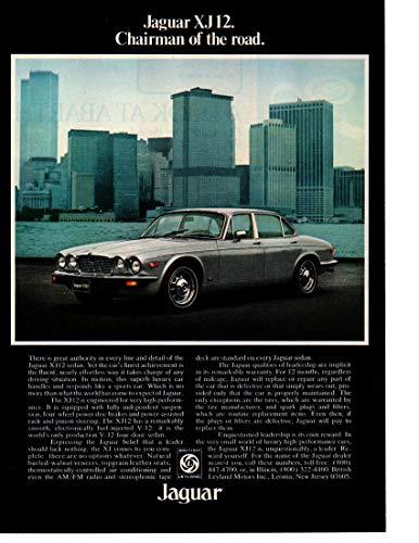 "Magazine Print ad: 1977 Jaguar XJ12 V-12 sedan, New York City, Wall Street, World Trade Center,""Chairman of the Road"""