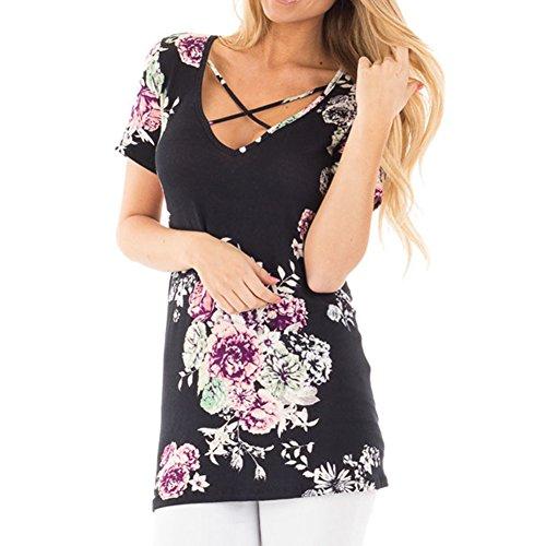 Loose Shirts XXXXXL Dcontract Courtes Neck Size Lace Plus Basic Blouse Juleya Manches Imprim T Up V Basique Chemise XS Shirt Femmes Blouse D't Noir Bw5cxUSq