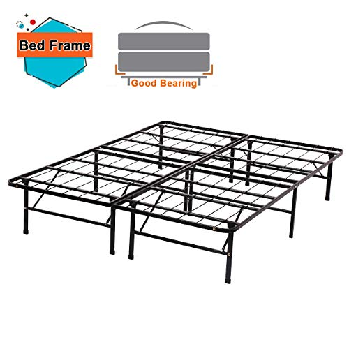 - Platform Bed Frame Twin Full Queen King Metal Folding Base Mattress Foundation 14 Inch Heavy Duty Steel Slat Replaces Box Spring,Black (Full)