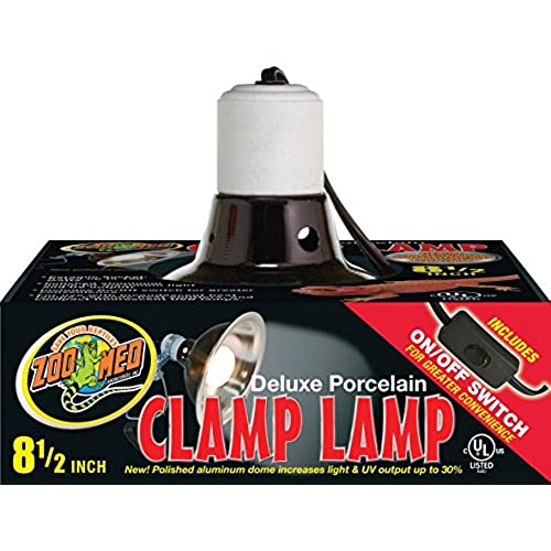 Zoo Med Deluxe Porcelain Clamp Lamp With 8.5 Inch Dome, Black
