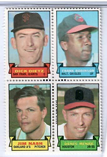 Topps Baseball Stamps - 1969 Topps Baseball Stamps Dick Dietz-Frank Robinson-Jim Nash-Dennis Menke 4 Stamp Panel