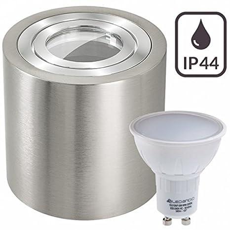 3er IP44 LED Aufbaustrahler Set Silber gebürstet mit 4000K LED GU10 Markenstrahler von LEDANDO - 5W - neutralweiss - 120° Abstrahlwinkel - Feuchtraum / Badezimmer - 35W Ersatz - LED Aufbauleuchte Zylinder