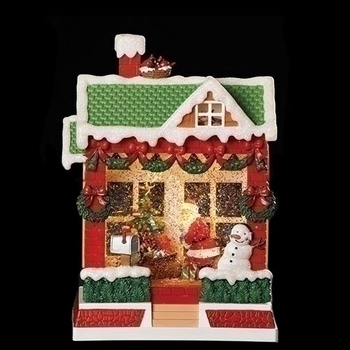 (Snow Covered House With Santa LED Light-up 10 Inch Acrylic Holiday Musical Glitter Globe)