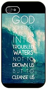 God sometimes takes us into troubled waters, not to drawn us - Sea wave - Bible verse iPhone 4/ 4s black plastic case / Christian Verses