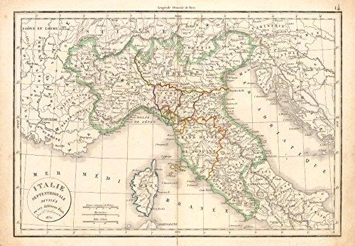 'Italie Septentrionale divisée en ses différens États'. DELAMARCHE - 1830 - old map - antique map - vintage map - printed maps of Italy