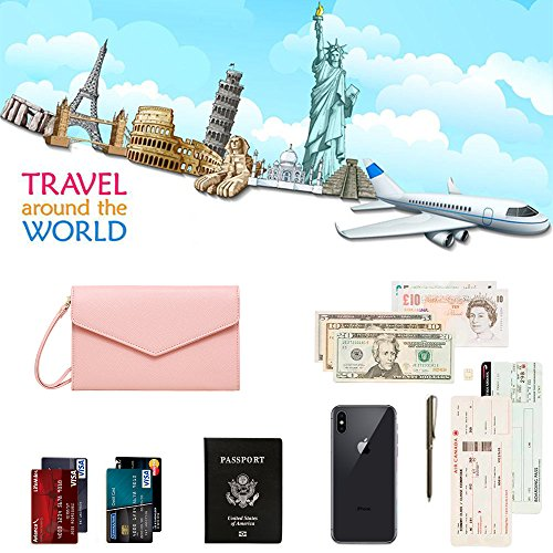 Krosslon Travel Passport Wallet for Women Rfid Wristlet Slim Family Document Holder, 205 Pastel Pink by KROSSLON (Image #2)