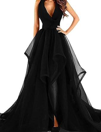 Fashionbride Womens Ruffles Tulle Formal Evening Dresses Long 2018 Halter Prom Dresses F718BK-US2