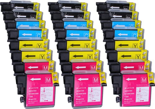 165c Brother Dcp Color (Ink Cartridges for inkjet printers. 24 Pack  6 Black, 6 Cyan, 6 Magenta, 6 Yellow LC-61-BK , LC-61-C , LC-61-M , LC-61-Y © Blake. Compatible with Brother LC-61 , LC-65 for use with DCP-165C, DCP-375CW, DCP-385C, DCP-395CN, DCP-585CW, DCP-J125, DCP-J140W, MFC-250C, MFC-255CW, MFC-290C, MFC-295CN, MFC-490CW, MFC-495CW, MFC-5490CN, MFC-5890CN, MFC-5895CW, MFC-6490CW, MFC-6890CDW, MFC-790CW, MFC-795CW, MFC-990CW, MFC-J220, MFC-J265W, MFC-J270W, MFC-J410, MFC-J410W, MFC-J415W, MFC-J615W, MFC-J630W.)