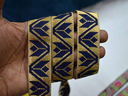 1.3 Inch Wholesale Navy Blue Saree Border Brocade Jacquard Ribbon Indian Laces Metallic Decorative Trim by 9 Yard Costume Sewing Crafting Laces