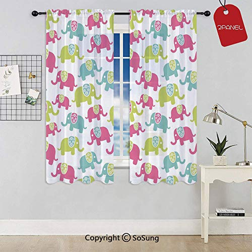 SoSung Cartoon Cute Elephants with Ornaments Joyous Kids Room Pattern Decorative Window Curtain Sheer Voile Panels,for Kids Room,Kitchen,Living Room & Bedroom,2 Panels,Each 32x36 Inch,Green Blue Pink