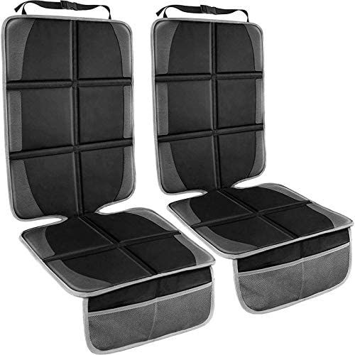 Car Seat Protector, 2 Pack Large Auto Car Seat Protectors for Child Car Seat, Thick Carseat Seat Protector with Organizer Pockets, Vehicle Dog Cover Pad for SUV Sedan Truck Leather Seats