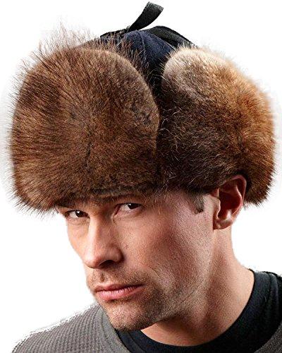24476128473 frr Canadian RCMP Muskrat Fur Jockey Trapper Hat (M) Brown  Amazon ...