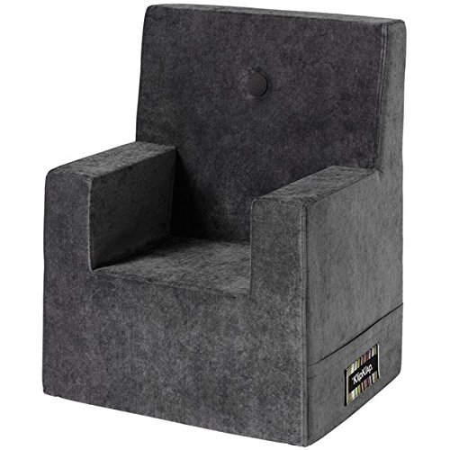 by KlipKlap Kids Chair XL - Velvet - Antrasit Velvet with dark grey button