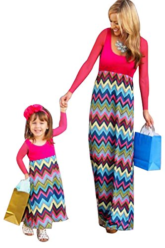 YMING Family Matching Dress Mommy and Me Patchwork Bohemia Long Maxi Dress(Rose,Mom,M) -