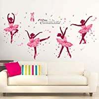 iwallsticker Dancing Girl Wall Stickers Pink Ballerina Girl Wall Sticker Bedroom Living Room Bathroom Home Decoration