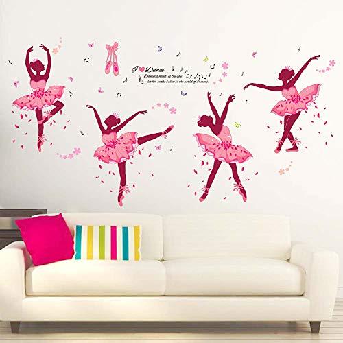 (iwallsticker 74 x 38Inch DIY Ballet Girl Wall Sticker Decals Removable Pink Wall Decal Sticker Mural Art Home Dance Room Decor)