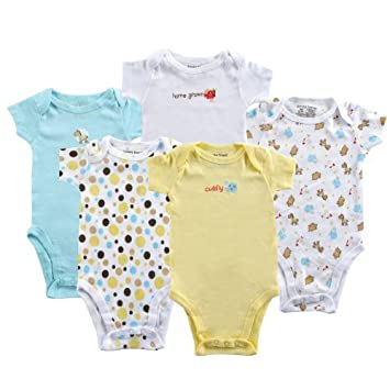 Amazon Com 5 Pack Pastel Bodysuits Yellow 9 12 Months Size 9 12